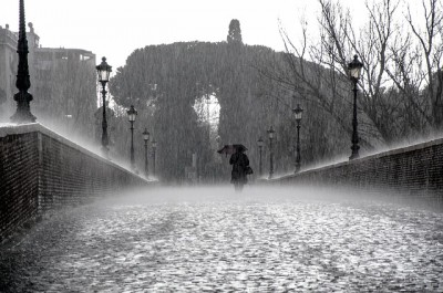 IMAGE: Into each life some rain must fall, / Some days must be dark and dreary. //