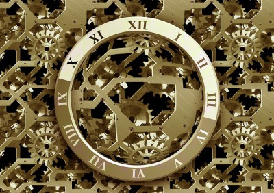 IMAGE: Time is dead as long as it is being clicked off by little wheels; only when the clock stops does time come to life.