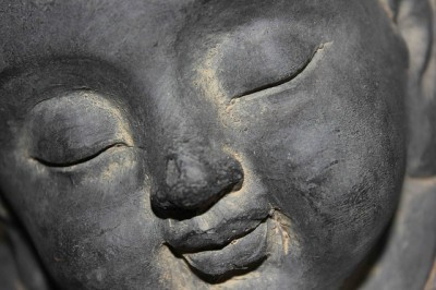 IMAGE: When I am lonely, / Strangers don't know; // When I am lonely, / My friends laugh; // When I am lonely, / My mother is kind; // When I am lonely, / Buddha is lonely. //