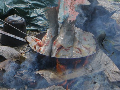 IMAGE: To take one foot out of the mire and put in the other. / Out of the frying pan into the fire.