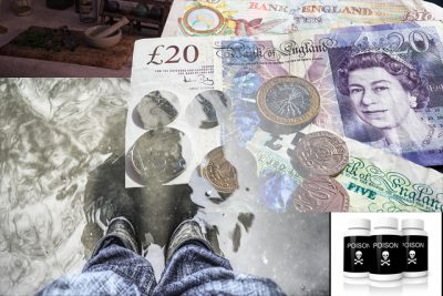 IMAGE: Over shoes, over boots. / In for a penny, in for a pound.