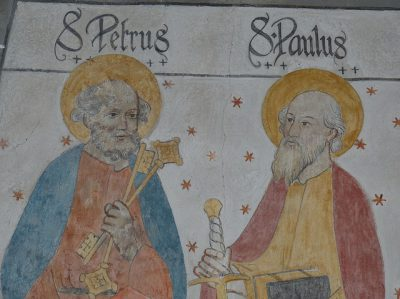 IMAGE: To rob Peter to pay Paul. [To borrow from Peter to pay Paul. / To unclothe Peter to clothe Paul.]