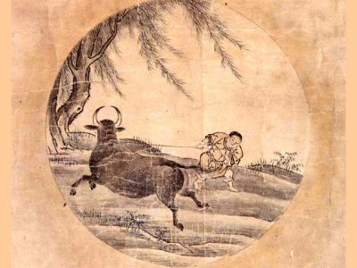 IMAGE: 4. Catching the Bull. [Getting Hold of the Ox.]