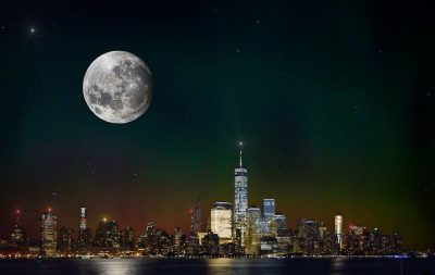 IMAGE: When you get caught between the moon and New York City, / I know it's crazy, but it's true, // If you get caught between the moon and New York City, / The best that you can do, / The best that you can do, / Is fall in love. //