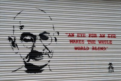 IMAGE: An eye for eye only ends up making the whole world blind. [An eye for an eye only ends up making the whole world blind.]