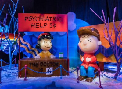 """IMAGE: Charlie Brown: """"In the book of life, the answers are not in the back! That's my new philosophy"""" / Lucy Van Pelt: """"I think you're in trouble"""" //"""